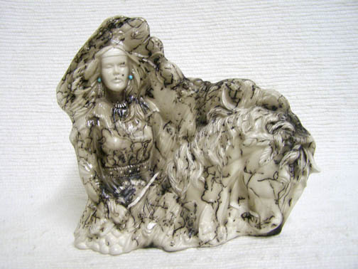 Native American Made Ceramic Horsehair Maiden on Horseback