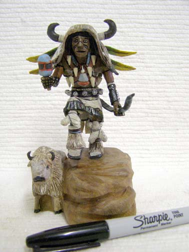 Native American Hopi Carved White Buffalo (Mosairu) Great Spiritual Protector Katsina Doll by Milton Howard