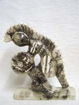 Native American Made Ceramic Horsehair Dancing Warrior,Horsehair Pottery--Dancing Warrior
