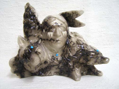 Native American Made Ceramic Horsehair Wolf Walker Horsehair Pottery