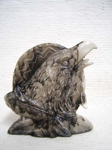 Native American Made Ceramic Horsehair  Flat Eagle with Shield