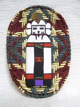 Native American Hopi Made Wicker Plaque with Snow Maiden