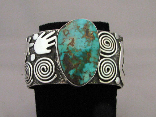 Native American Zuni/Navajo Made Turquoise Sterling Silver Bracelet by Alex Sanchez