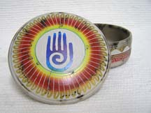 Native American Navajo Made Ceramic Fine Etched Horsehair Jewelry Box with Healing Hand by Hilda Whitegoat