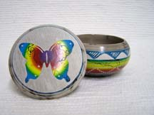 Native American Navajo Made Ceramic Fine Etched Horsehair Small Jewelry Box with Butterfly