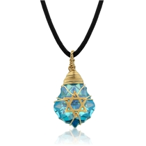 Crystal and Gold Filled Postmodern Star of David Necklace (Blue)